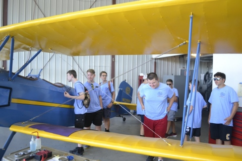 The Cadets checking out an antique plane
